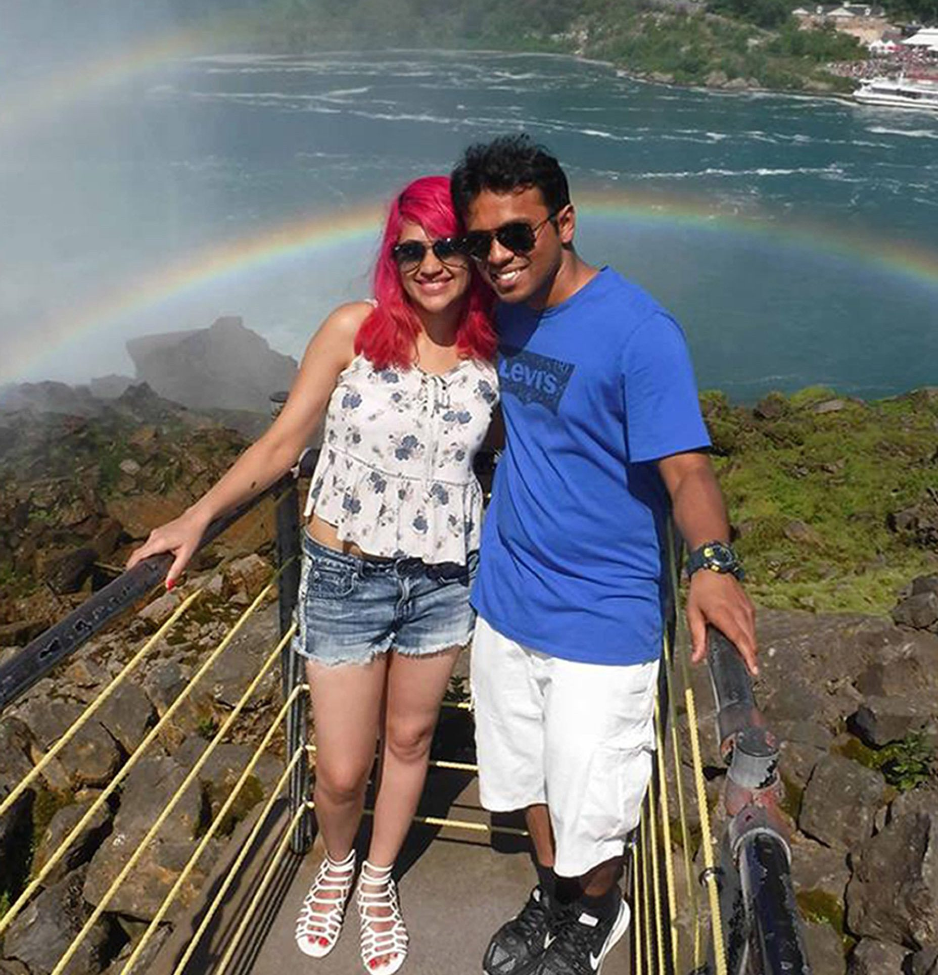 Images of (right) Vishnu Viswanath, 29, and Meenakshi Moorthy, 30, both fell to their deaths from Taft Point, Yosemite National Park. In a tragic incident, an Indian couple died after falling 800 feet in an area with steep terrain in California's Yosemite National Park this week, according to a media report. Vishnu Viswanath, 29, and Meenakshi Moorthy, 30, fell to their deaths from Taft Point in Yosemite National Park. They were identified on Monday as a married couple from India living in the United States, the San Francisco Chronicle reported. The report said that the couple had recently moved from New York after Vishnu Viswanath took a job as a systems engineer at Cisco, based in San Jose. Together, they chronicled their adventures of travelling around the world in a blog called 'Holidays and HappilyEverAfters'. Rangers recovered their bodies on the steep terrain on Thursday below Taft Point, a popular tourist spot that offers spectacular views of the Yosemite Valley, Yosemite Falls, and El Capitan. Visitors had spotted the bodies a day earlier. Picture: Universal News And Sport (Europe) 30/10/2018