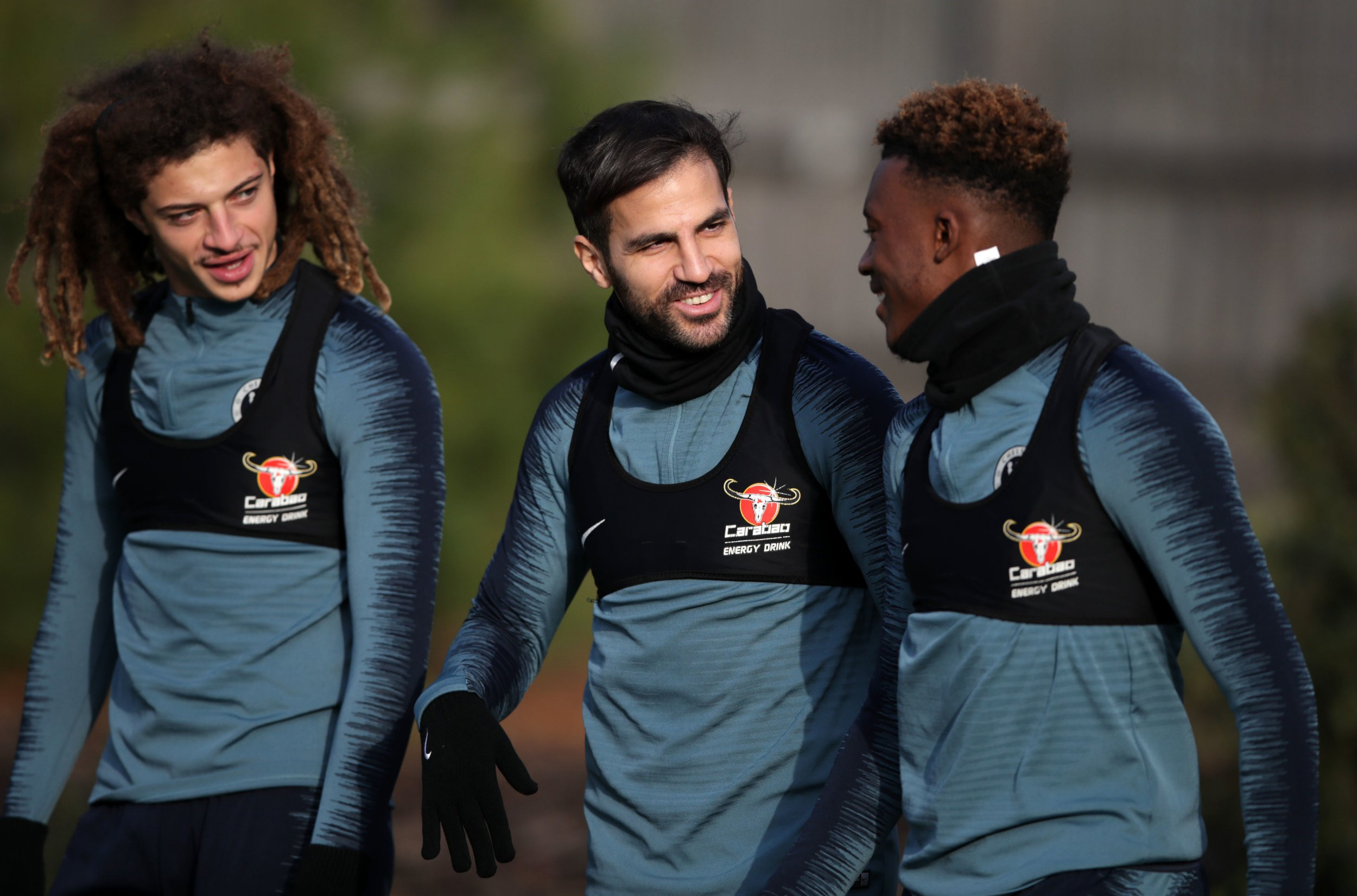 Chelsea's Cesc Fabregas and Callum Hudson-Odoi during the training session at Cobham Training Ground, London. PRESS ASSOCIATION Photo. Picture date: Wednesday December 12, 2018. See PA story SOCCER Chelsea. Photo credit should read: John Walton/PA Wire