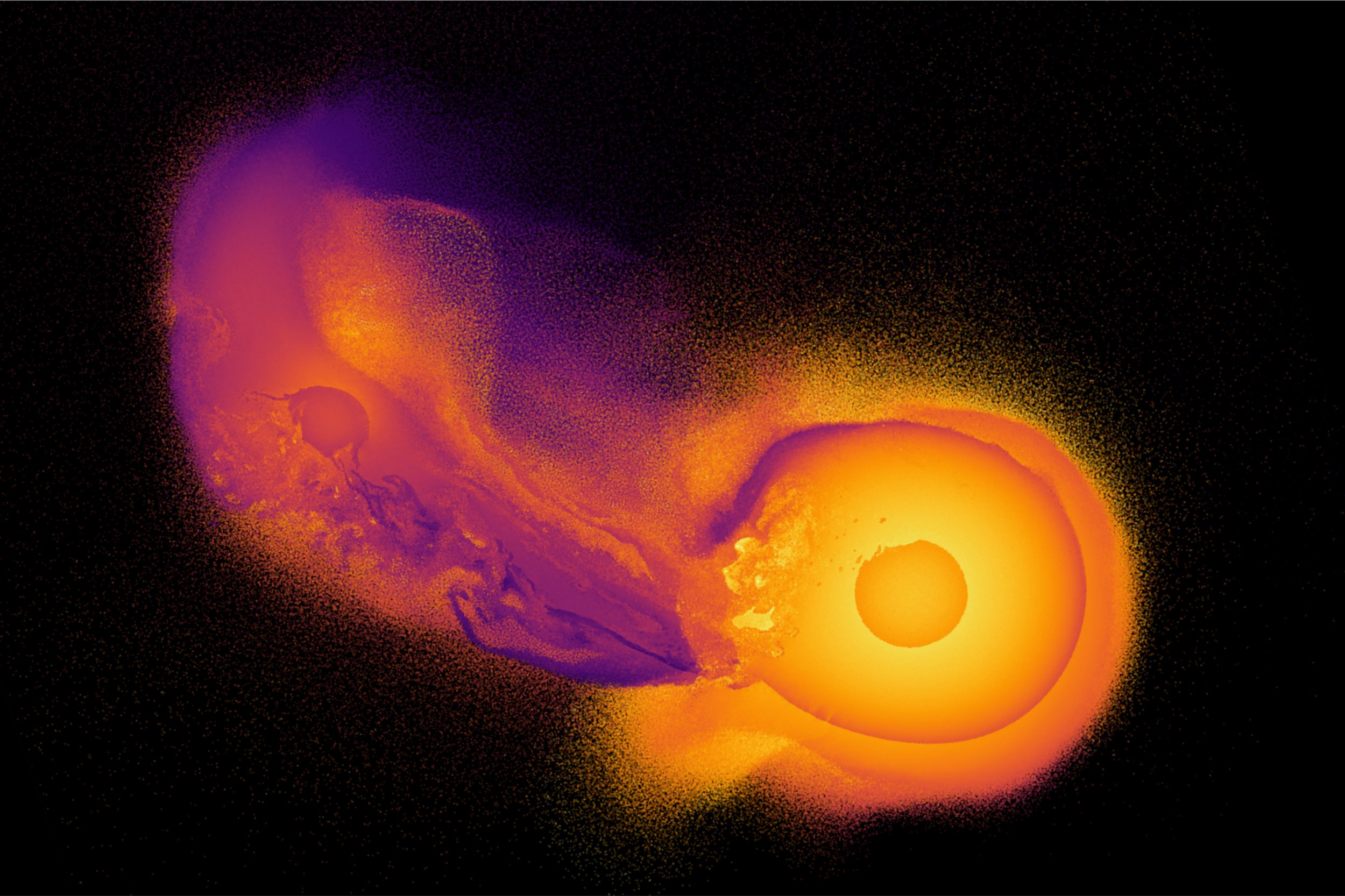 This image made from video provided by Durham University astronomy researcher Jacob Kegerreis shows a computer simulation generated by the open-source code SWIFT that depicts an object crashing into the planet Uranus. Kegerreis says the detailed simulations show that the collision and reshaping of Uranus 3 billion to 4 billion years ago likely caused the massive planet to tilt about 90 degrees on its side. (Jacob A. Kegerreis/Durham University via AP)
