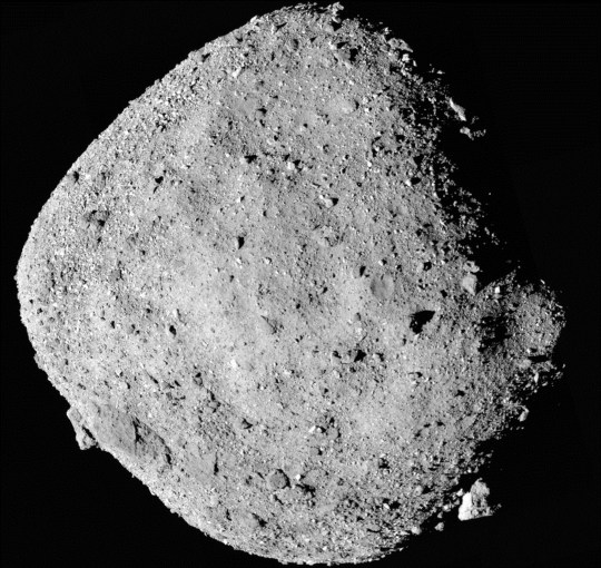 FILE - This file mosaic image composed of 12 PolyCam images collected on Dec. 2, 2018, and provided by NASA shows the asteroid Bennu. The Osiris-Rex spacecraft entered orbit Monday, Dec. 31, 2018, around the asteroid Bennu, 70 million miles (110 million kilometers) from Earth. It???s the smallest celestial body ever to be orbited by a spacecraft. Bennu is just 1,600 feet (500 meters) across. (NASA/Goddard/University of Arizona via AP, File)