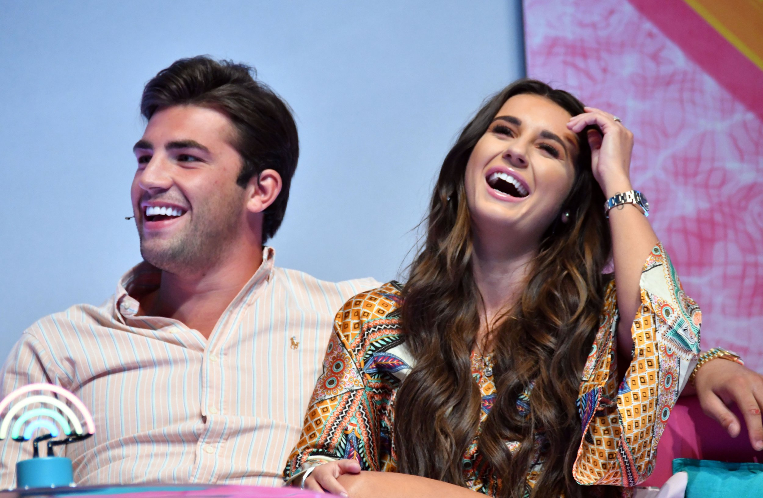 dani dyer and jack fincham from love island laughing together