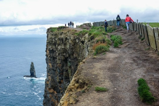 The Cliffs of Moher seen at the south west coast in County Clare, Ireland, 05 June 2017. The cliffs rise above Atlantic Ocean and stretch eight kilometres along the coast.? NO WIRE SERVICE ? Photo: Jens Kalaene/dpa-Zentralbild/ZB