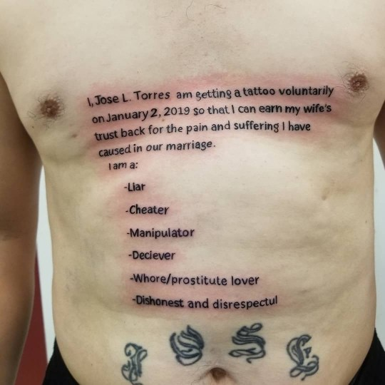 Please behold the tattoo a cheating husband apparently got to win