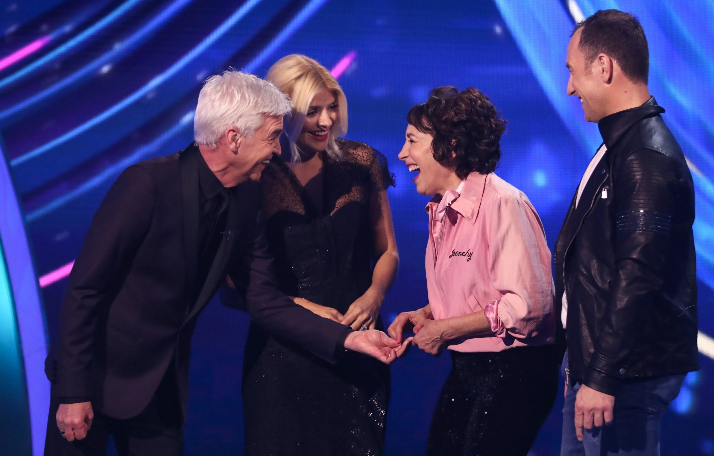 Editorial use only Mandatory Credit: Photo by Matt Frost/ITV/REX (10048681af) Phillip Schofield and Holly Willoughby, Didi Conn and Lukasz Rozycki 'Dancing on Ice' TV show, Series 11, Episode 1, Hertfordshire, UK - 06 Jan 2019