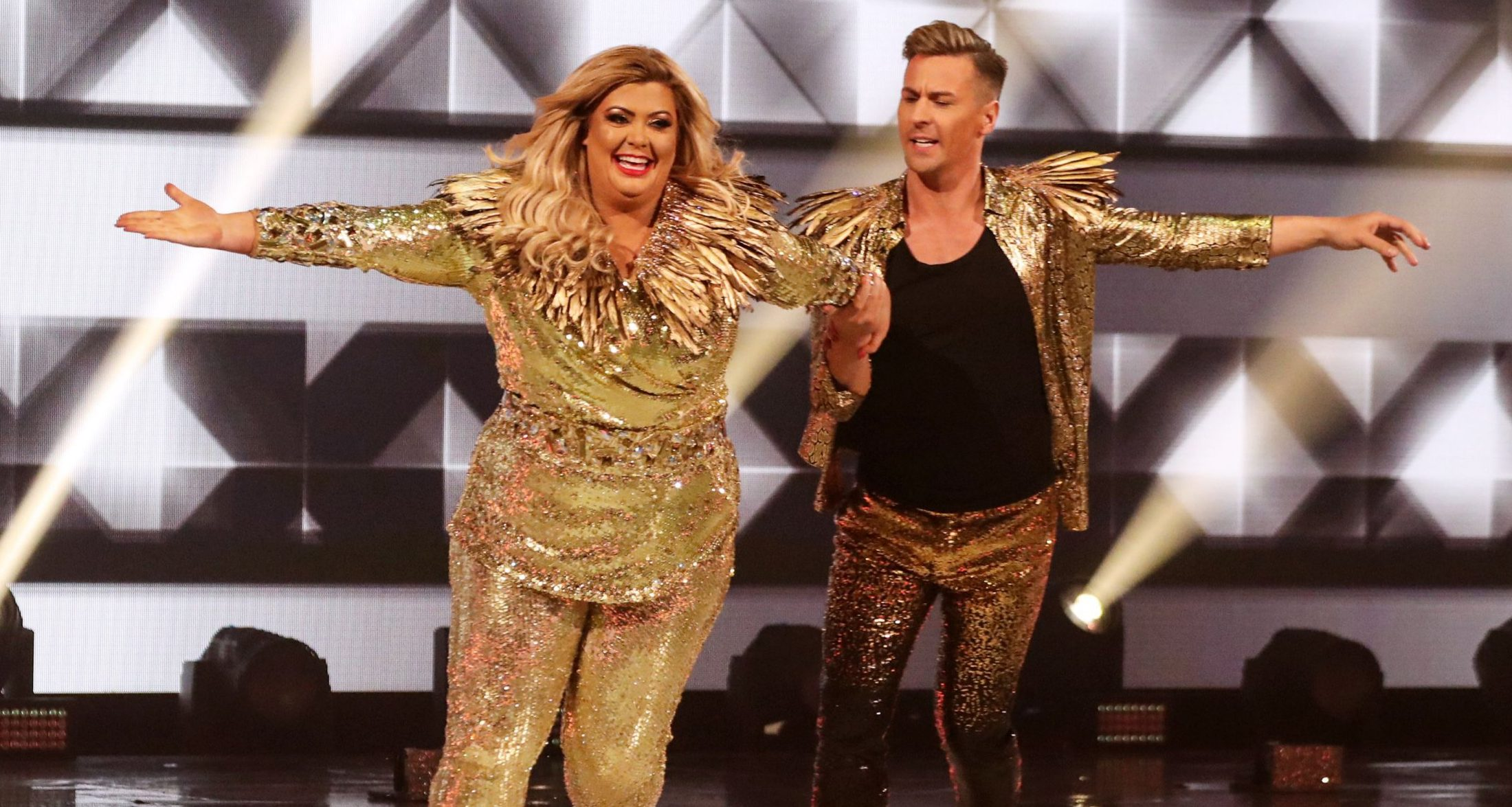 Editorial use only Mandatory Credit: Photo by Matt Frost/ITV/REX (10048681az) Gemma Collins and Matt Evers 'Dancing on Ice' TV show, Series 11, Episode 1, Hertfordshire, UK - 06 Jan 2019