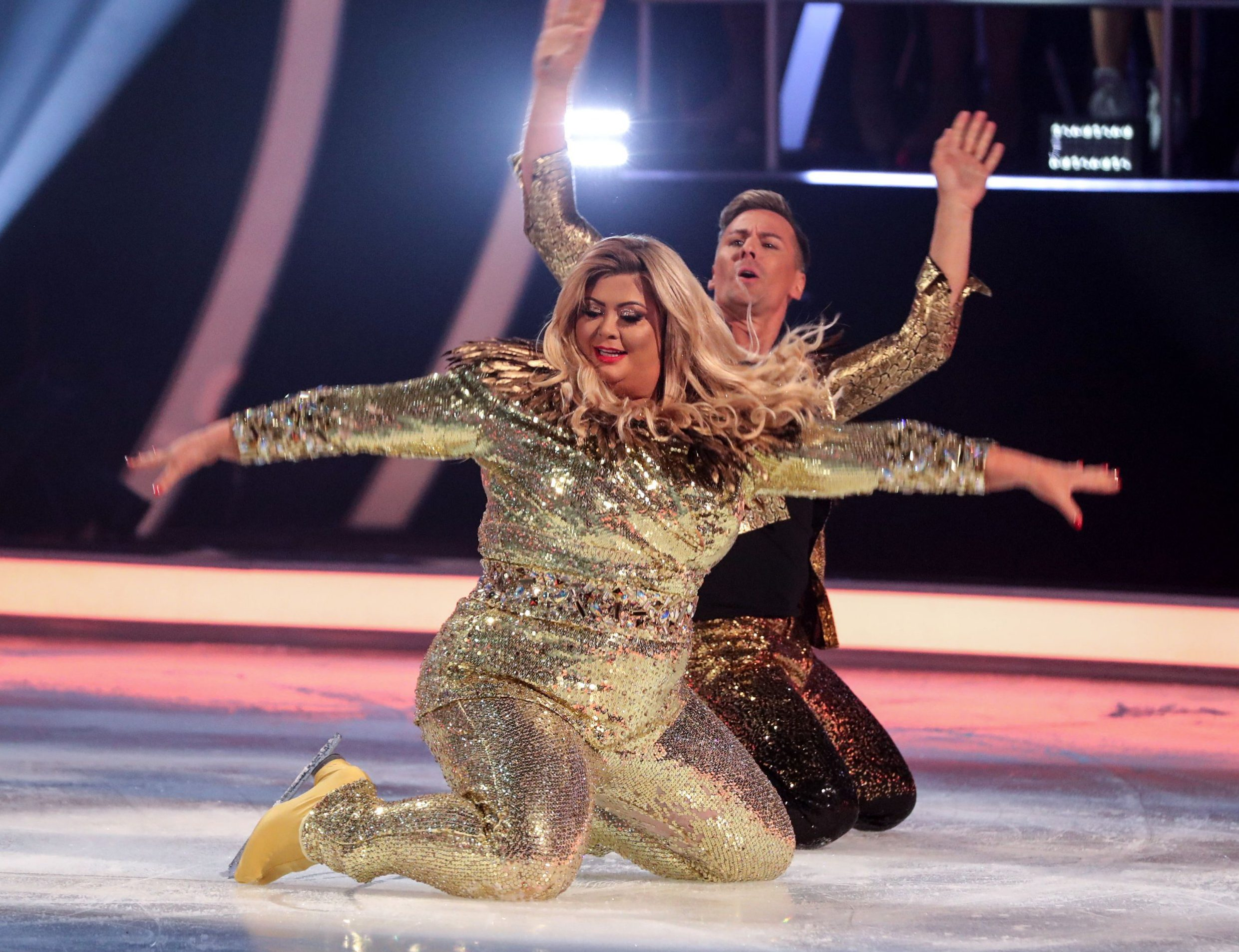 Editorial use only Mandatory Credit: Photo by Matt Frost/ITV/REX (10048681bh) Gemma Collins and Matt Evers 'Dancing on Ice' TV show, Series 11, Episode 1, Hertfordshire, UK - 06 Jan 2019