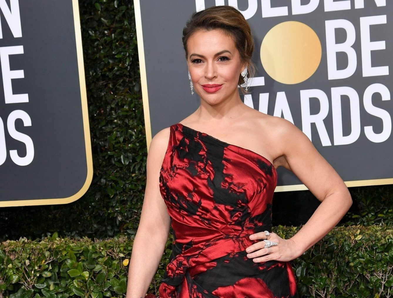 Alyssa Milano attends the Annual Golden Globe Awards in Los Angeles