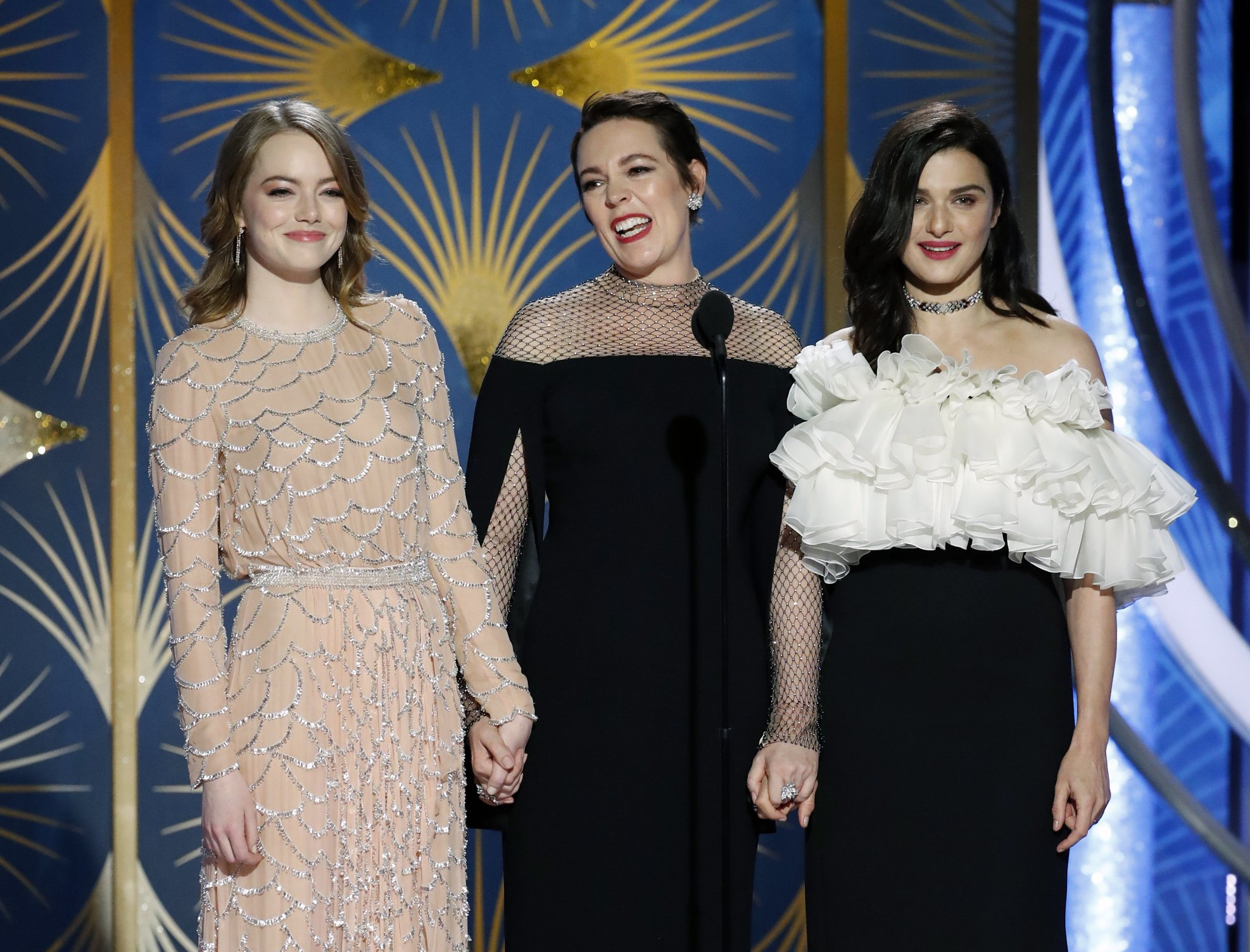Olivia Colman thanks her 'b****es' Emma Stone and Rachel Weisz at Golden Globes 2019