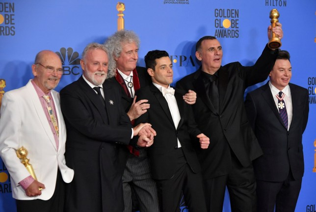Mandatory Credit: Photo by Rob Latour/REX (10048070dv) Jim Beach, Roger Taylor, Brian May, Rami Malek, Graham King and Mike Meyers- Best Motion Picture, Drama - 'Bohemian Rhapsody' 76th Annual Golden Globe Awards, Press Room, Los Angeles, USA - 06 Jan 2019