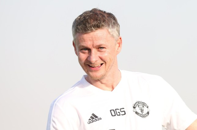 DUBAI, ENGLAND - JANUARY 07: (EXCLUSIVE COVERAGE) Caretaker Manager Ole Gunnar Solskjaer of Manchester United in action during a first team training session at Nad Al Sheba Sports Complex on January 7, 2019 in Dubai, United Arab Emirates. (Photo by Matthew Peters/Man Utd via Getty Images)