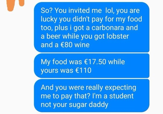Woman refuses date with man because he didn't pay for her