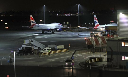 "Planes at Terminal 5 at Heathrow airport after departures were temporarily suspended following ""reports of drones"" at the airport. PRESS ASSOCIATION Photo. Picture date: Tuesday January 8, 2019. The west London hub apologised for any disruption caused to passengers after flights were suspended for around an hour. See PA story AIR Drone. Photo credit should read: Yui Mok/PA Wire"