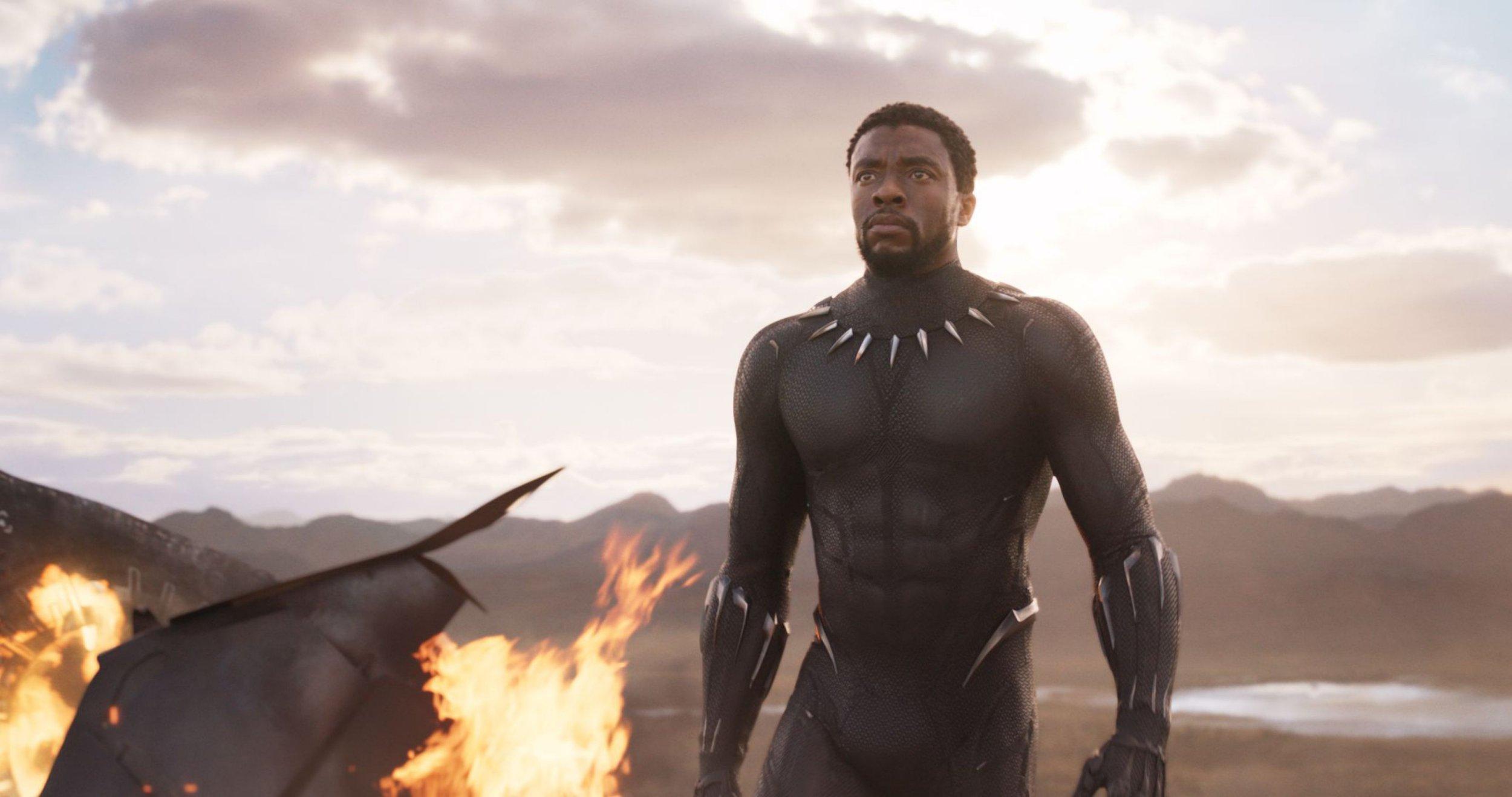 "Editorial use only. No book cover usage. Mandatory Credit: Photo by Marvel/Disney/Kobal/REX/Shutterstock (9360960j) Chadwick Boseman ""Black Panther"" Film - 2018"