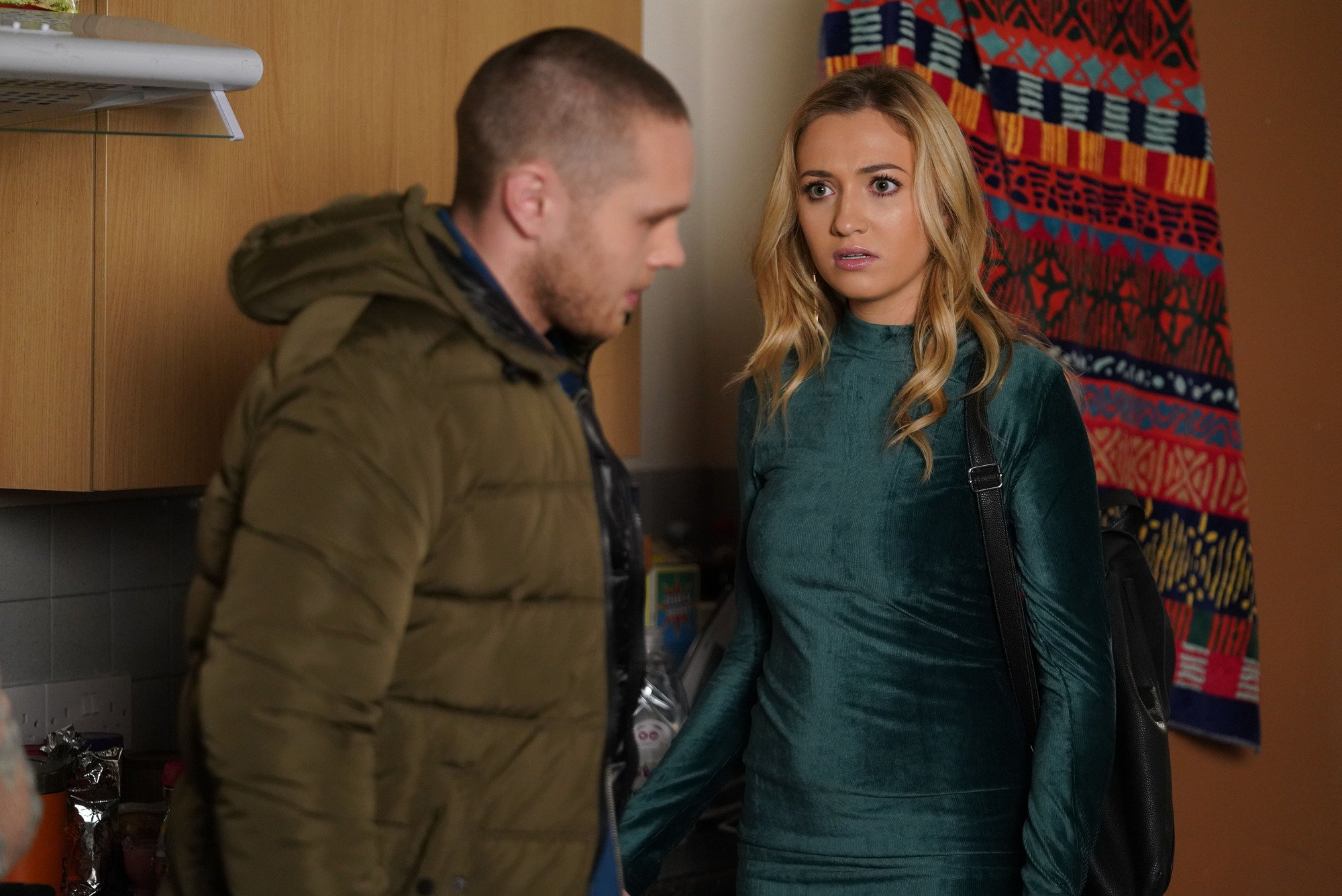 WARNING: Embargoed for publication until 00:00:01 on 15/01/2019 - Programme Name: EastEnders - January - March 2019 - TX: 25/01/2019 - Episode: EastEnders - January - March - 2019 - 5857 (No. n/a) - Picture Shows: *STRICTLY NOT FOR PUBLICATION UNTIL 00:01HRS TUESDAY 15th JANUARY 2019* Louise snubs Keanu when he tries to let her down gently. Keanu Taylor (DANNY WALTERS), Louise Mitchell (TILLY KEEPER) - (C) BBC - Photographer: Kieron McCarron