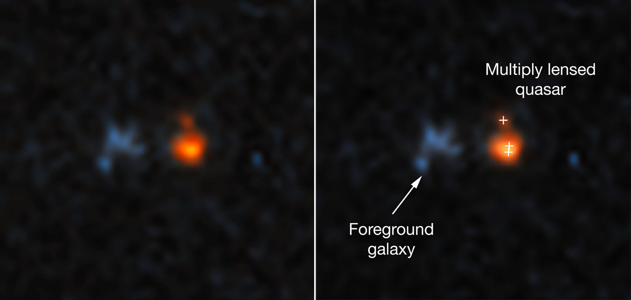 Undated handout photo, with explainer graphic (right), of the Hubble Space Telescope image of a very distant quasar that has been magnified and split into three images by the effects of the gravitational field of a foreground galaxy (left). The Hubble Telescope has discovered the brightest quasar ever seen in the early universe which has the brightness of about 600-trillion suns. PRESS ASSOCIATION Photo. Issue date: Wednesday January 9, 2019. Astronomers used data from the NASA/European Space Agency Hubble Space Telescope to find the ancient quasar, which they believe can provides an insight into the birth of galaxies when the Universe was about a billion years old. See PA story SCIENCE Hubble. Photo credit should read: NASA, ESA, and X. Fan (University of Arizona)/PA Wire NOTE TO EDITORS: This handout photo may only be used in for editorial reporting purposes for the contemporaneous illustration of events, things or the people in the image or facts mentioned in the caption. Reuse of the picture may require further permission from the copyright holder.