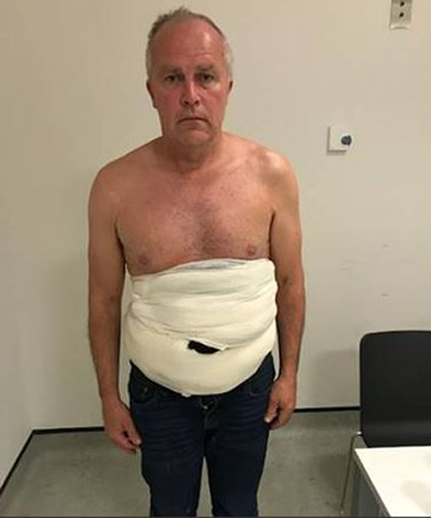 Crown Prosecution Service undated handout photo of Jeffrey Lendrum after he caught with the eggs strapped to his body by a sling hidden underneath a heavy coat at Heathrow airport on 26 June 2018. The prolific smuggler was handed a jail term of three years and one month on Thursday after he pleaded guilty to four offences on the second day of his trial at Snaresbrook Crown Court. PRESS ASSOCIATION Photo. Issue date: Thursday January 10, 2019. See PA story COURTS Eggs. Photo credit should read: Crown Prosecution Service /PA Wire NOTE TO EDITORS: This handout photo may only be used in for editorial reporting purposes for the contemporaneous illustration of events, things or the people in the image or facts mentioned in the caption. Reuse of the picture may require further permission from the copyright holder.