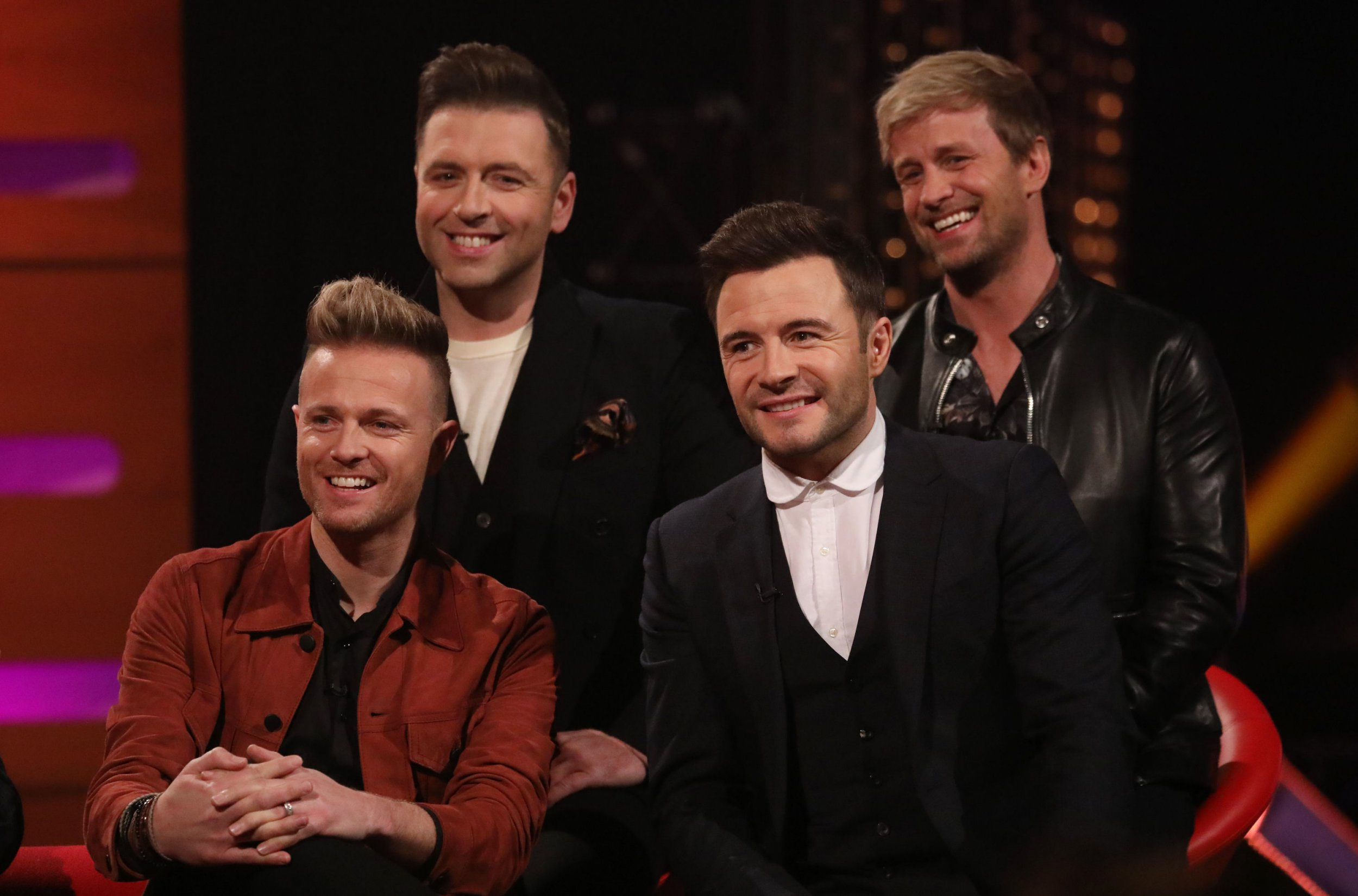 Westlife, ((back row) Kian Egan, Markus Feehily, (front row) Nicky Byrne and Shane Filan) during the filming for the Graham Norton Show at BBC Studioworks 6 Television Centre, Wood Lane, London, to be aired on BBC One on Friday evening. PRESS ASSOCIATION. Picture date: Thursday January 10, 2019. Photo credit should read: PA Images on behalf of So TV