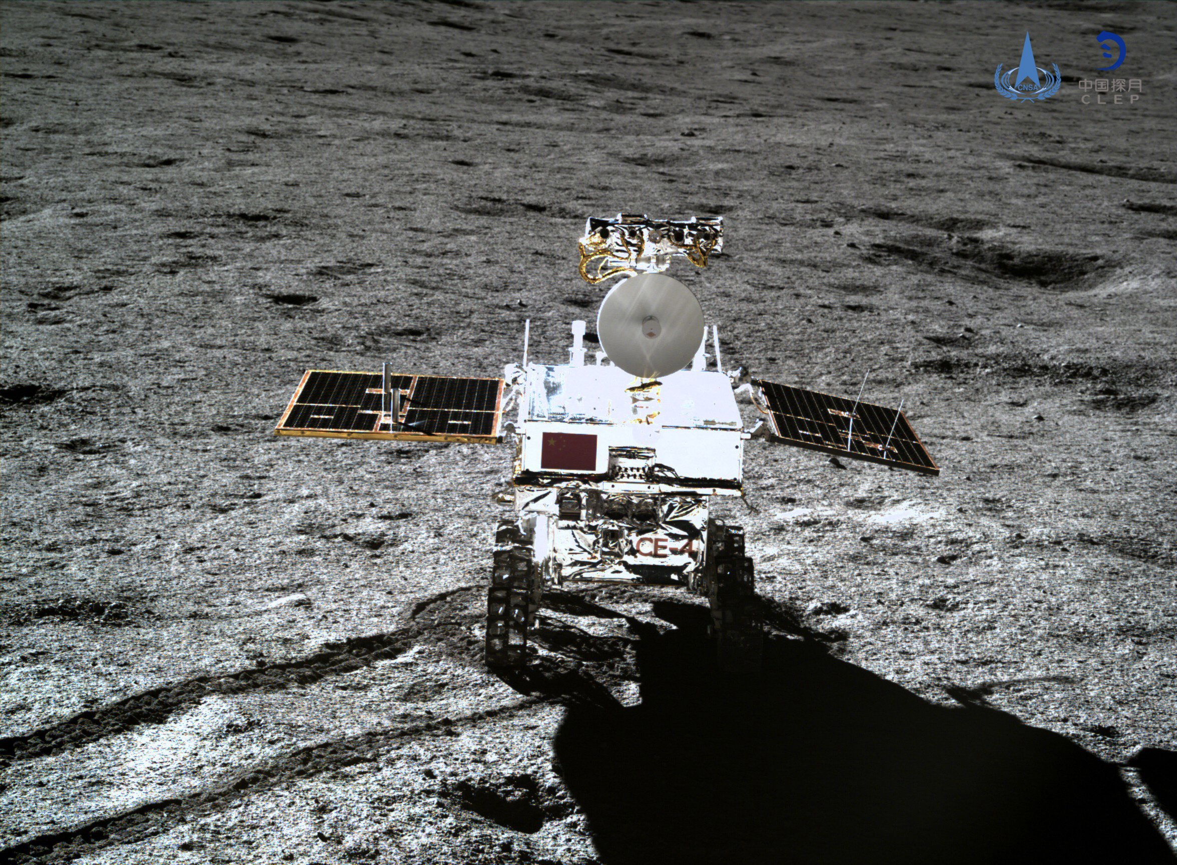 epa07276847 A handout photo made available by the China National Space Administration (CNSA) shows an image of the lunar rover Yutu-2, or Jade Rabbit 2, taken with the Chang'e 4 lander's terrain camera on the far side of the moon on 11 January 2019 (issued 12 January 2018). China announced on 11 January 2019 that the Chang'e 4 mission, which realized the first-ever soft-landing on the far side of the moon, was a complete success. The Chang'e 4 lunar probe made its historic landing on 03 January 2019 at 10:26am Beijing time (0226 GMT). EPA/CNSA / HANDOUT HANDOUT EDITORIAL USE ONLY/NO SALES HANDOUT HANDOUT EDITORIAL USE ONLY/NO SALES
