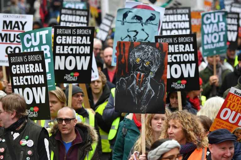 "People's Assembly Against Austerity stage a ""yellow vest""-inspired rally in central London calling for a general election. PRESS ASSOCIATION Photo. Picture date: Saturday January 12, 2019. See PA story PROTEST Rally. Photo credit should read: Dominic Lipinski/PA Wire"