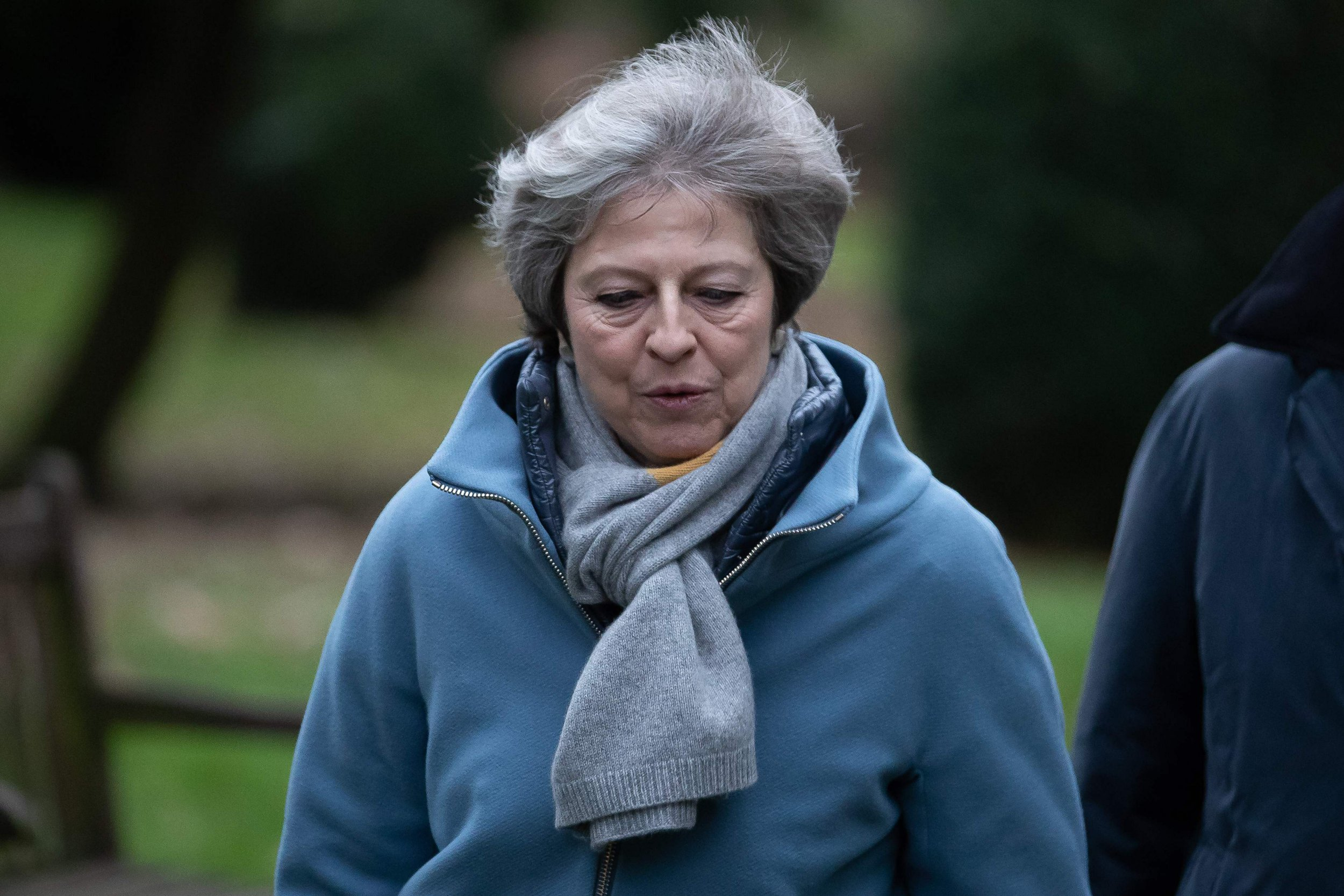 """Britain's Prime Minister Theresa May leaves after attending a church service, near her Maidenhead constituency, west of London on January 13, 2019. - British Prime Minister Theresa May on Sunday warned MPs preparing to vote down her EU divorce deal that failing to deliver Brexit would be a """"catastrophic and unforgivable breach of trust in our democracy"""". (Photo by Daniel LEAL-OLIVAS / AFP)DANIEL LEAL-OLIVAS/AFP/Getty Images"""