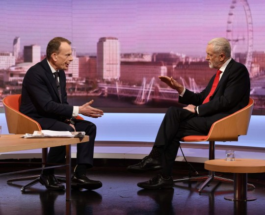 Britain's opposition Labour party leader Jeremy Corbyn appears on the BBC's Andrew Marr Show, in London, Britain January 13, 2019. Jeff Overs/BBC/Handout via REUTERS THIS IMAGE HAS BEEN SUPPLIED BY A THIRD PARTY. NO RESALES. NO ARCHIVES