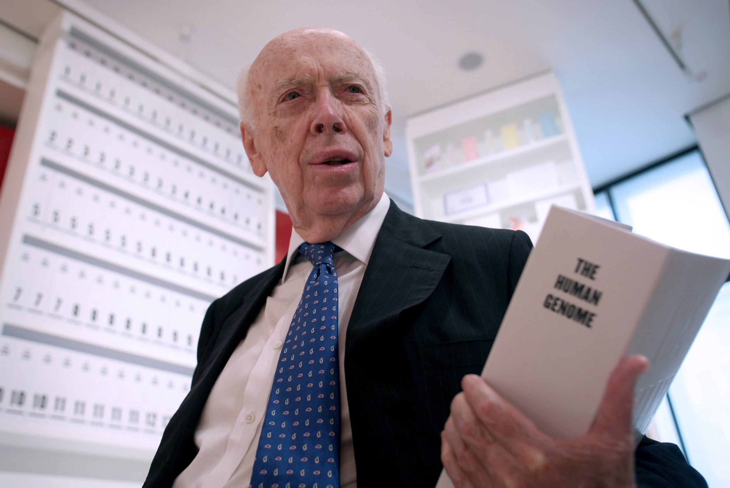 UNITED KINGDOM - JUNE 20: Nobel Prize winner, Professor James Watson, co-discoverer of the structure of DNA poses at the Wellcome Collection exhibition in central London, UK, Thursday, June 20, 2007. Watson's autobiography, 'Avoid Boring People' is published by Knopf in the U.S. and the Oxford University Press in the U.K. (Photo by Graham Barclay/Bloomberg via Getty Images)