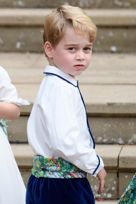 Mandatory Credit: Photo by Tim Rooke/REX/Shutterstock (9927730cm) Prince George The wedding of Princess Eugenie and Jack Brooksbank, Pre-Ceremony, Windsor, Berkshire, UK - 12 Oct 2018