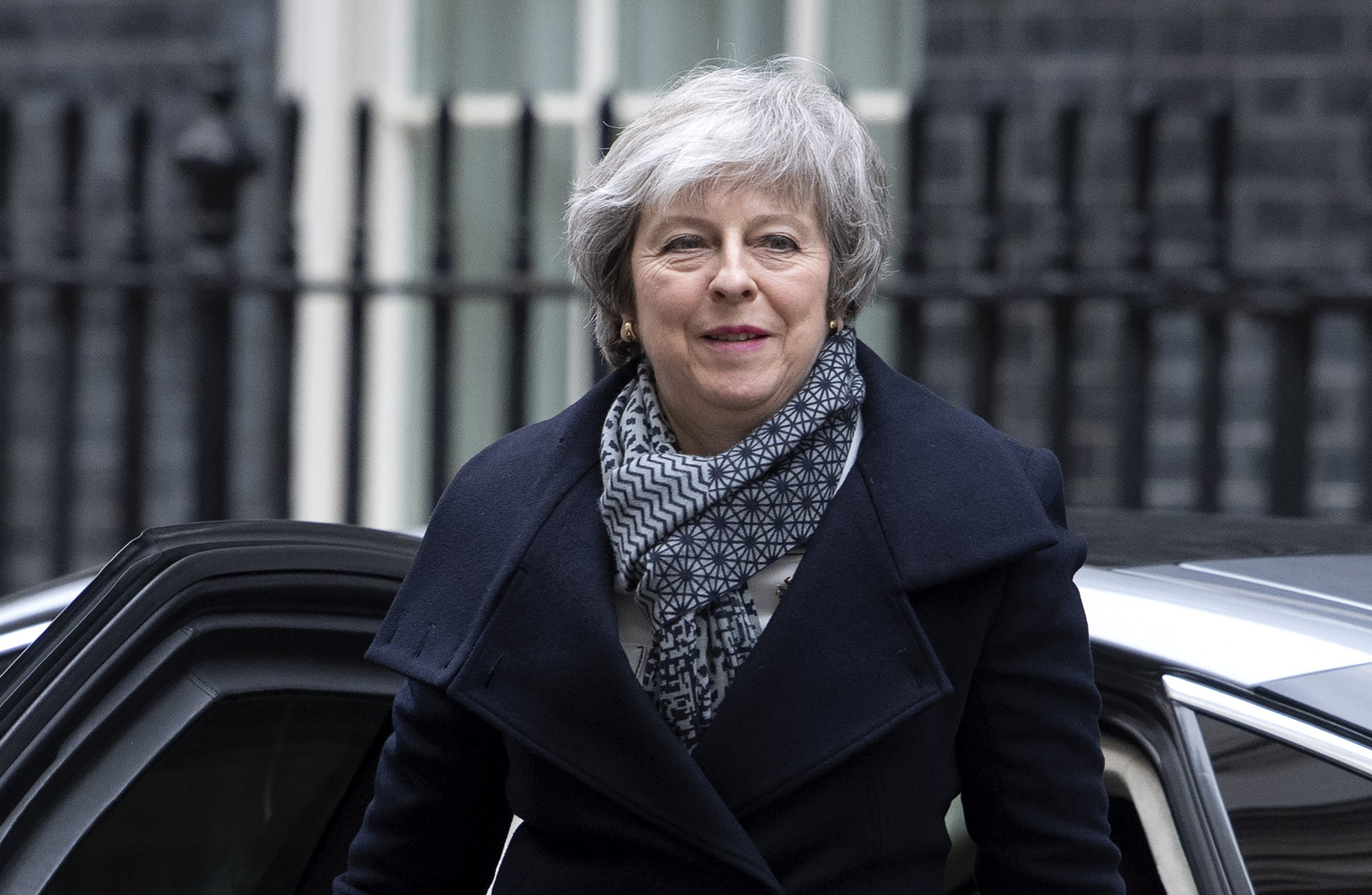 epa07283289 British Prime Minister, Theresa May arrives at 10 Downing street in central London, Britain, 14 January 2019 after giving a speech on Brexit to workers at the Portmeiron pottery factory in Stoke on Trent, central England. The postponed Brexit EU Withdrawal Agreement vote, or more commonly known as The Meaningful Vote, is due to be held in the House of Commons on 15 January 2019. EPA/FACUNDO ARRIZABALAGA