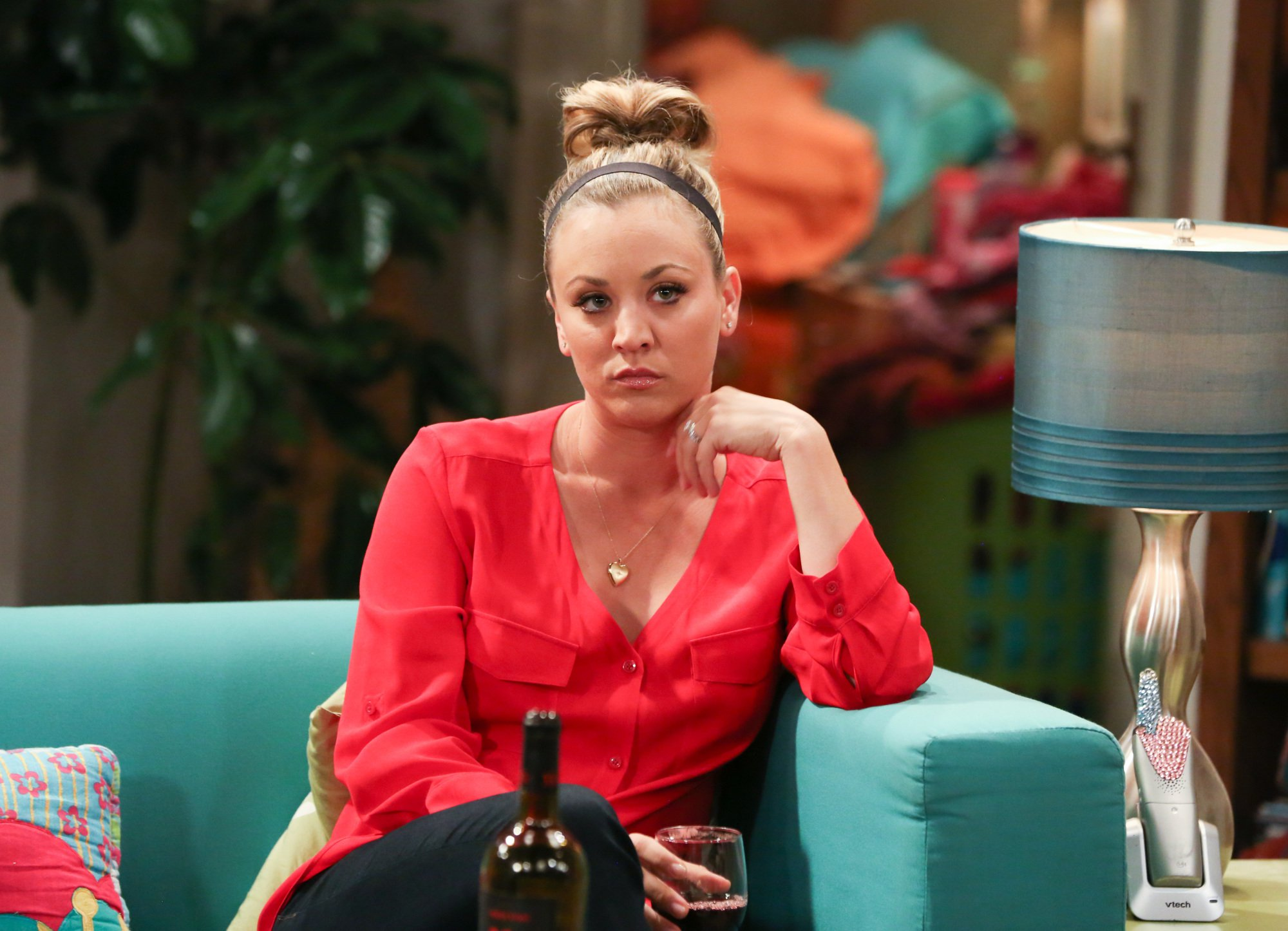 """LOS ANGELES - APRIL 19: """"The Line Substitution Solution"""" -- Pictured: Penny (Kaley Cuoco). Sheldon hires Stuart to spend the day with Amy when he'd rather go to a movie screening. Also, Leonard's mother, Beverly (Christine Baranski), comes to town and Penny struggles to make a connection with her, on THE BIG BANG THEORY, Thursday, May 5 (8:00-8:31, ET/PT) on the CBS Television Network. (Photo by Michael Yarish/CBS via Getty Images)"""