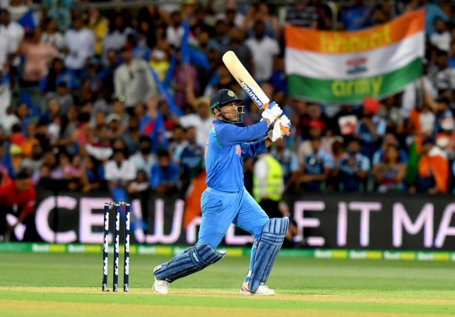 epa07286044 M.S. Dhoni hits a six in the last over to level the scores during the Second One-Day International (ODI) match between Australia and India at the Adelaide Oval in Adelaide, Australia, 15 January 2019. EPA/SAM WUNDKE EDITORIAL USE ONLY, NO USE IN BOOKS, NEWS REPORTING PURPOSES ONLY AUSTRALIA AND NEW ZEALAND OUT