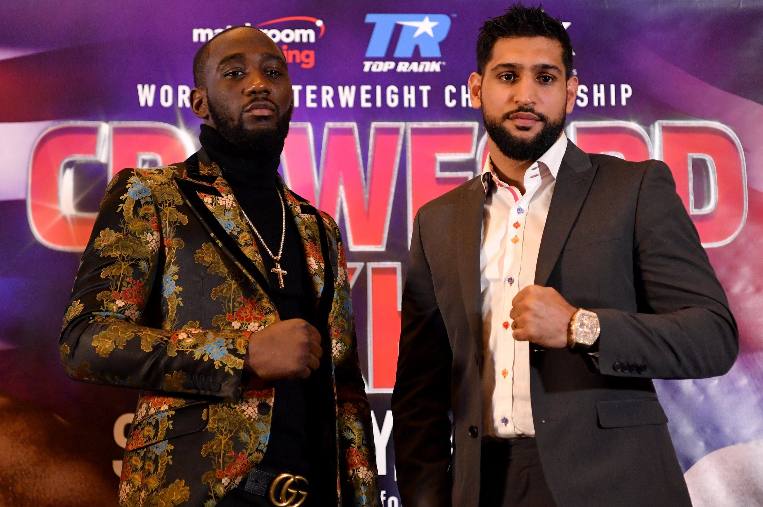 LONDON, ENGLAND - JANUARY 15: Terence Crawford and Amir Khan face up during a Terence Crawford and Amir Khan Press Conference on January 15, 2019 in London, England. Amir Khan has agreed to face undefeated WBO world welterweight champion Terence Crawford in the United States on 20 April. (Photo by Justin Setterfield/Getty Images)