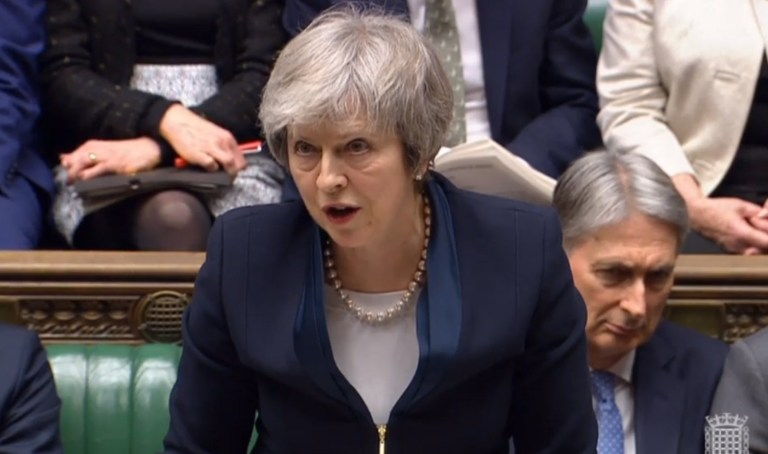 epa07287586 A handout video-grabbed still image from a video made available by UK parliament's parliamentary recording unit shows Britain's Prime Minister Theresa May speaking prior to the Meaningful Vote at the parliament late 15 January 2018, London, United Kingdom, the crucial vote on whether to support or reject Theresa May's deal of UK leaving the European Union. The legally-binding Withdrawal Agreement sets up a 'transition or implementation period' that runs until the end of 2020 after Brexit. The United Kingdom, that on 01 January 1973 joined EEC or European Communities, predecessor of European Union, has been a EU member state for 46 years. EPA/PARLIAMENTARY RECORDING UNIT HANDOUT MANDATORY CREDIT: PARLIAMENTARY RECORDING UNIT HANDOUT EDITORIAL USE ONLY/NO SALES