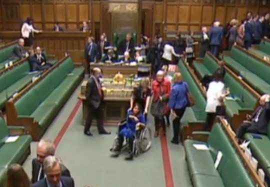 Labour MP Tulip Siddiq is wheeled through the chamber while MPs vote on the Prime Minister's Brexit deal in the House of Commons, London. PRESS ASSOCIATION Photo. Picture date: Tuesday January 15, 2019. See PA story POLITICS Brexit. Photo credit should read: House of Commons/PA Wire