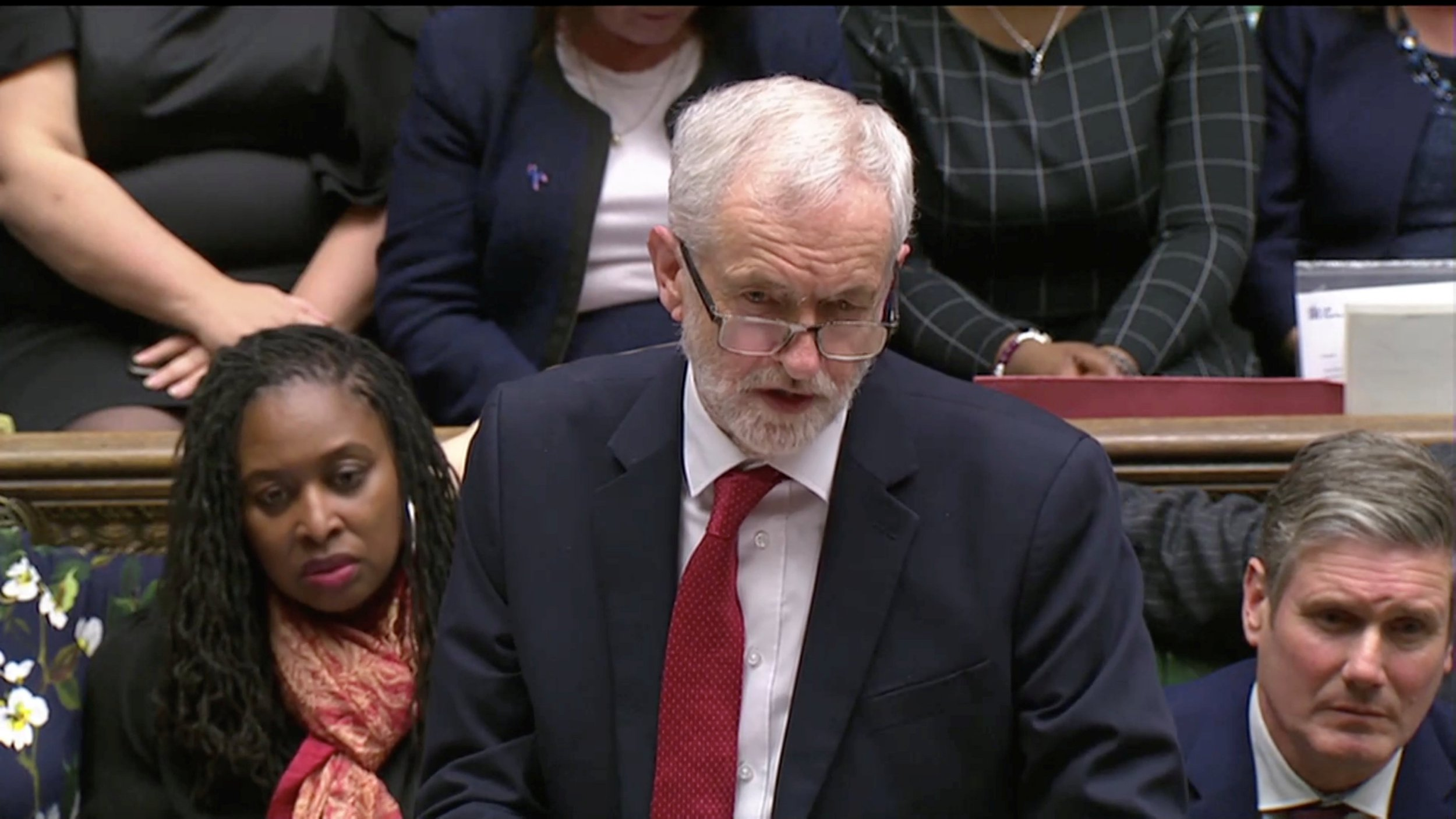 Labour party leader Jeremy Corbyn addresses Parliament after the vote on May's Brexit deal, in London, Britain, January 15, 2019 in this screengrab taken from video. Reuters TV via REUTERS