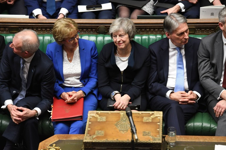 ONE EDITORIAL USE ONLY. NO SALES. NO ARCHIVING. NO ALTERING OR MANIPULATING. NO USE ON SOCIAL MEDIA UNLESS AGREED BY HOC PHOTOGRAPHY SERVICE. MANDATORY CREDIT REQUIRED: UK Parliament/Jessica Taylor Handout photo issued by the House of Commons of Prime Minister Theresa May (centre) with (left to right) David Lidington, Andrea Leadsom and Philip Hammond after she lost a vote on her Brexit plan in the House of Commons in London. PRESS ASSOCIATION Photo. Picture date: Tuesday January 15, 2019. See PA story POLITICS Brexit. Photo credit should read: UK Parliament/Jessica Taylor/PA Wire NOTE TO EDITORS: This handout photo may only be used in for editorial reporting purposes for the contemporaneous illustration of events, things or the people in the image or facts mentioned in the caption. Reuse of the picture may require further permission from the copyright holder.