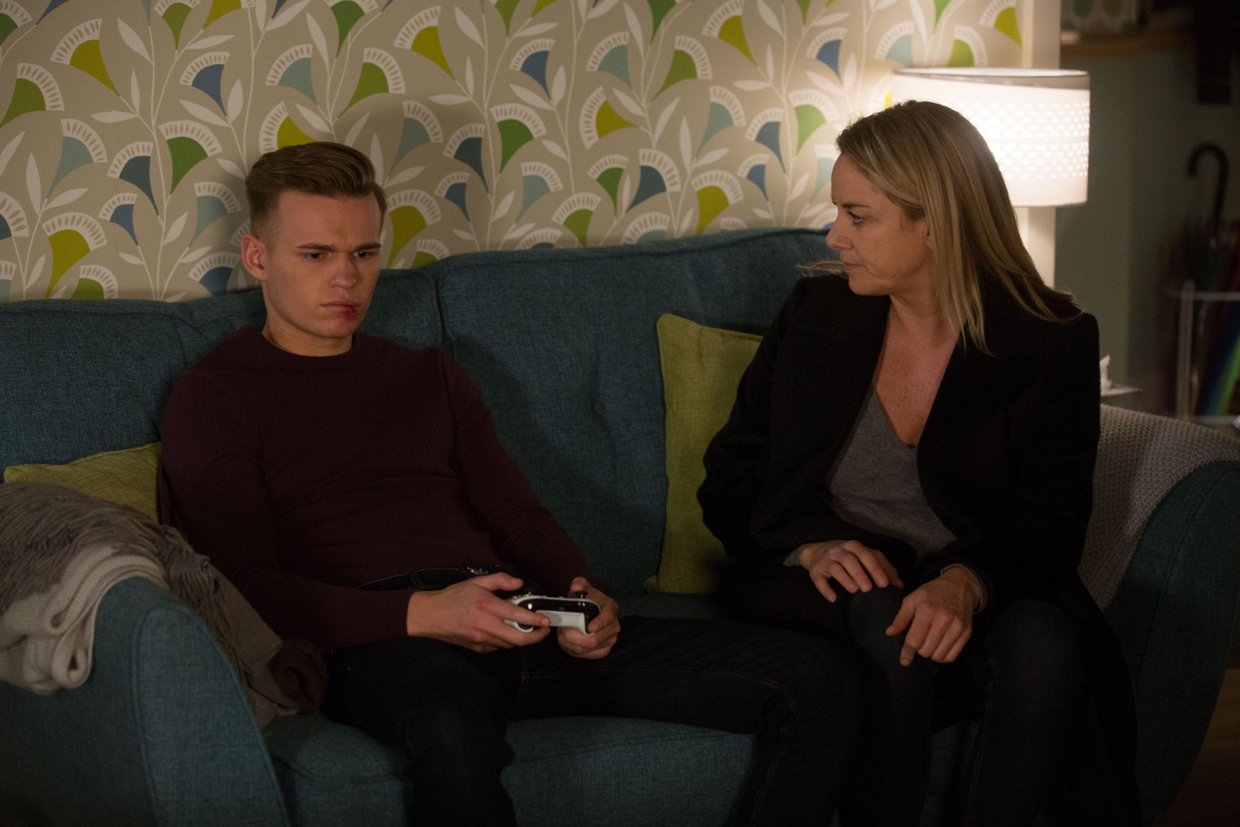 WARNING: Embargoed for publication until 00:00:01 on 22/01/2019 - Programme Name: EastEnders - January - March 2019 - TX: 29/01/2019 - Episode: EastEnders - January - March - 2019 - 5859 (No. 5859) - Picture Shows: *STRICTLY NOT FOR PUBLICATION UNTIL 00:01HRS TUESDAY 22nd JANUARY 2019* Mel checks in on Hunter Hunter Owen (CHARLIE WINTER), Melanie Owen (TAMZIN OUTHWAITE) - (C) BBC - Photographer: Jack Barnes