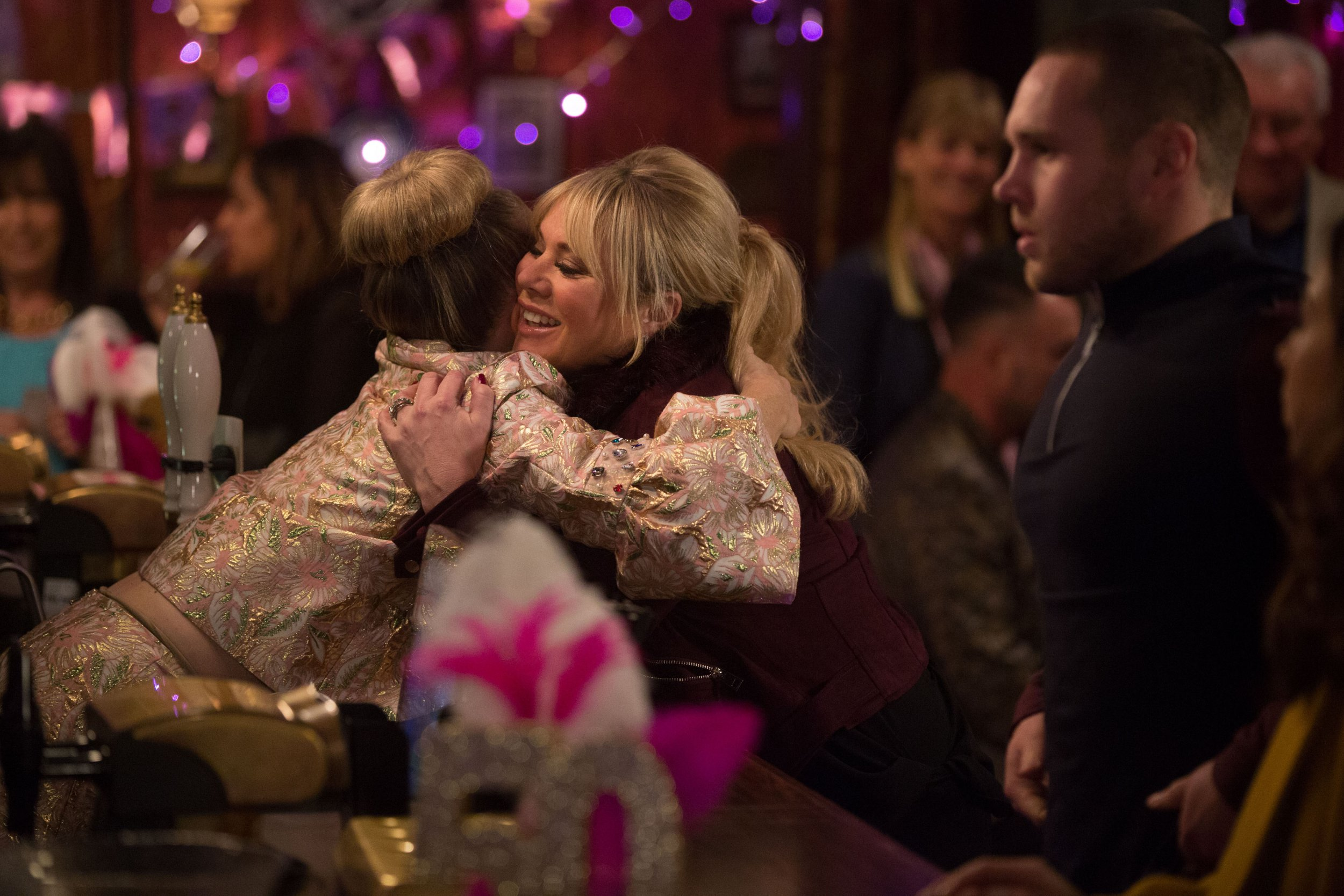WARNING: Embargoed for publication until 00:00:01 on 22/01/2019 - Programme Name: EastEnders - January - March 2019 - TX: 29/01/2019 - Episode: EastEnders - January - March - 2019 - 5859 (No. 5859) - Picture Shows: *STRICTLY NOT FOR PUBLICATION UNTIL 00:01HRS TUESDAY 22nd JANUARY 2019* Linda is happy Sharon is back Linda Carter (KELLIE BRIGHT), Sharon Mitchell (LETITIA DEAN) - (C) BBC - Photographer: Jack Barnes