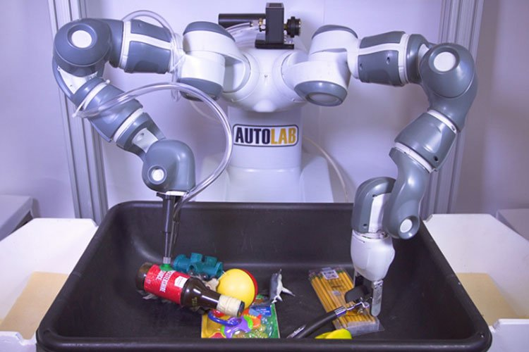 A new algorithm helps robots decide which gripper works best for picking up different objects. (Adriel Olmos, UC Berkeley photo) From spoons to stuffed animals, humans learn early in life how to pick up objects that have a variety of shapes, textures and sizes. A new machine-learning algorithm developed by engineers at UC Berkeley can teach robots to grasp and carry items with similar dexterity. The algorithm helps ???ambidextrous??? robots equipped with different types of grippers ??? for example, a suction gripper and a parallel-jaw gripper ??? decide which gripper to use for any given object. ???Any single gripper cannot handle all objects,??? said Jeff Mahler, a postdoctoral researcher at UC Berkeley and lead author of a new paper describing the advance, published this week in Science Robotics. ???For example, a suction cup cannot create a seal on porous objects such as clothing, and parallel-jaw grippers may not be able to reach both sides of some tools and toys. ???Ambidextrous??? robots offer greater diversity.??? The technology could be especially useful in fulfillment centers for e-commerce companies like Amazon, which rely on robots for packaging. ???When you are in a warehouse putting together packages for delivery, objects vary considerably,??? said Ken Goldberg, a UC Berkeley professor with joint appointments in the Department of Electrical Engineering and Computer Sciences and the Department of Industrial Engineering and Operations Research. ???We need a variety of grippers to handle a variety of objects.???