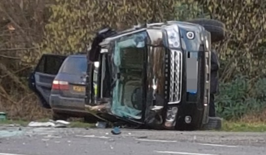 EXCLUSIVE: **MINIMUM REPRO FEE 250 POUNDS PER IMAGE** These exclusive images show the overturned SUV being driven by Prince Philip after it crashed. The 97-year-oid royal was driving near to the family????????s Sandringham Estate when a collision occurred with another vehicle. Reports said Queen Elizabeth????????s husband was not injured in the crash but he is said to have been ???????shocked and shaken??????? by the incident. A motorist took these images of the overturned vehicle by the side of the road. 17 Jan 2019 Pictured: Prince Philip's overturned SUV. Photo credit: MEGA TheMegaAgency.com +1 888 505 6342 (Mega Agency TagID: MEGA339818_005.jpg) [Photo via Mega Agency]