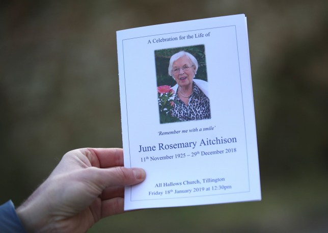 A view of the order of service for the funeral of June Whitfield at the All Hallows Church in Tillington, West Sussex. PRESS ASSOCIATION Photo. Picture date: Friday January 18, 2019. See PA story DEATH Whitfield. Photo credit should read: Andrew Matthews/PA Wire