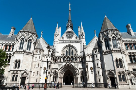 The Royal Courts of Justice building housing the High Court of Justice, London, England, UK