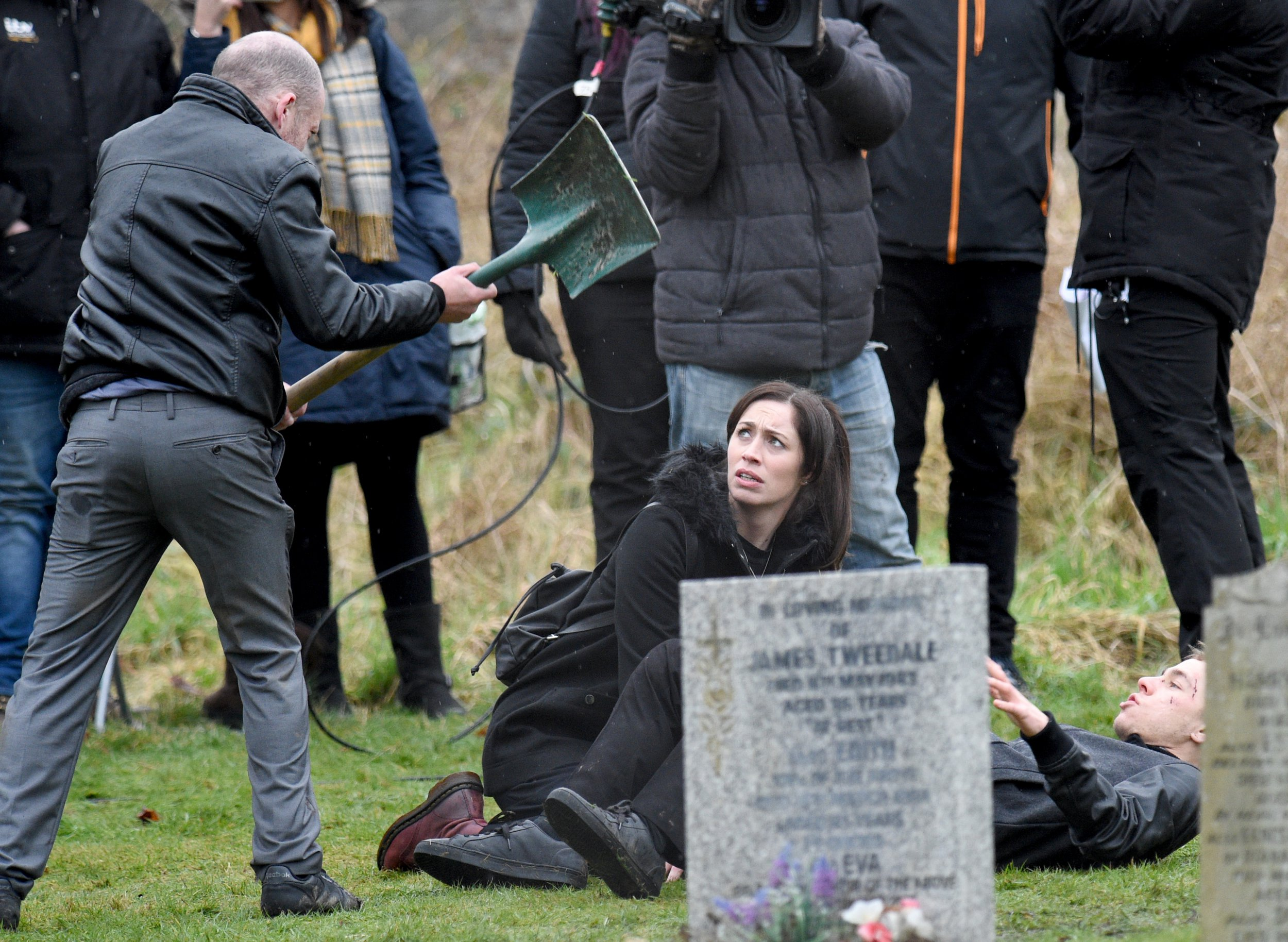 Clayton Hibbs saves his mother Shona's life when he stops Macca from hitting her with a shovel during his escape from prison officers at his father funeral. PIC BY MARK CAMPBELL/MCPIX 07778 526193