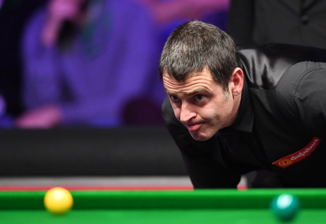 20th January 2019, Alexandra Palace, London, England; Dafabet Masters Snooker final, Ronnie O'Sullivan versus Judd Trump; Ronnie O'Sullivan plans his shot (photo by Simon West/Action Plus via Getty Images)