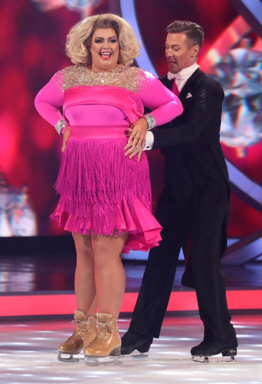 Editorial use only Mandatory Credit: Photo by Matt Frost/ITV/REX (10067937fw) Gemma Collins and Matt Evers 'Dancing on Ice' TV show, Series 11, Episode 3, Hertfordshire, UK - 20 Jan 2019