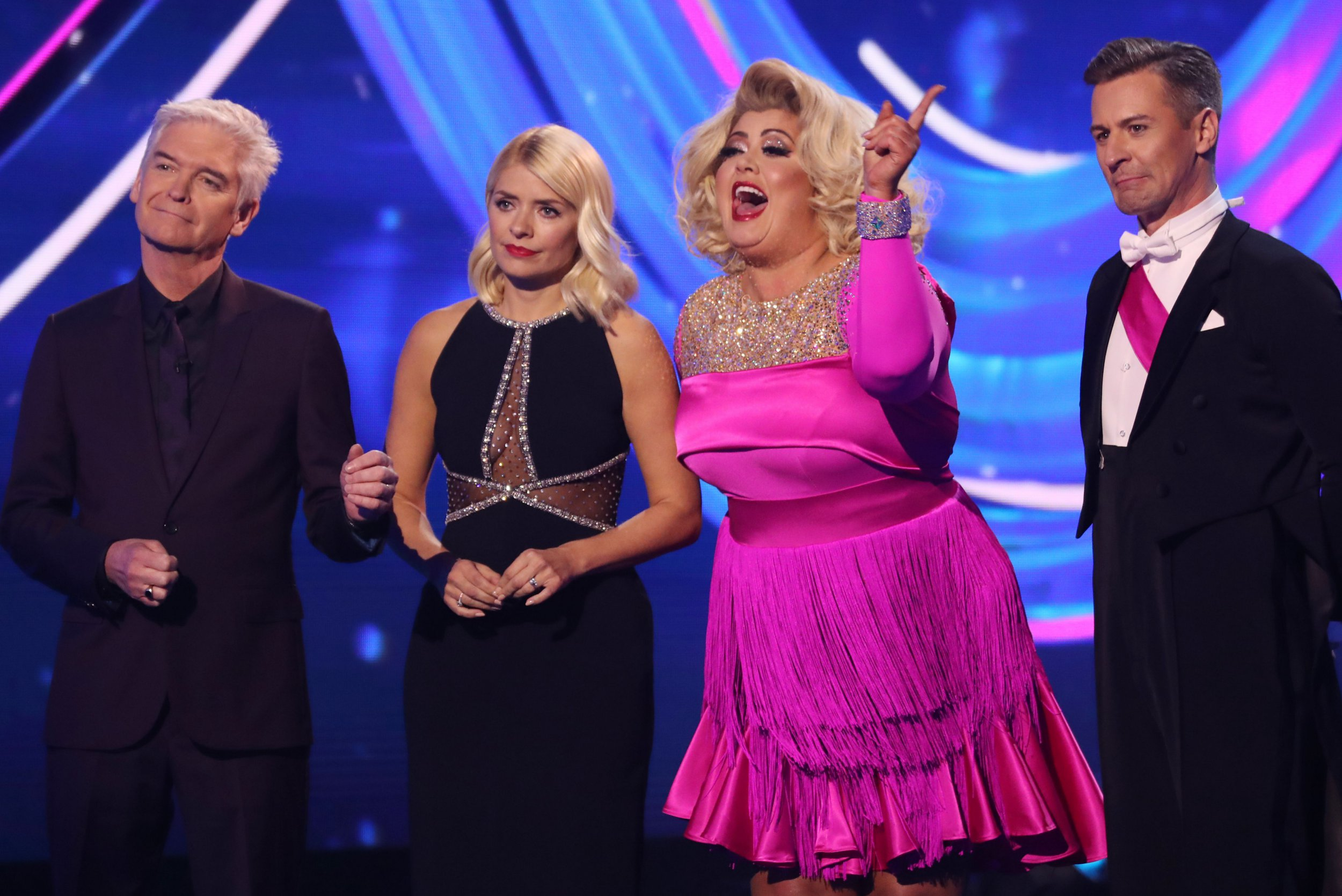 Editorial use only Mandatory Credit: Photo by Matt Frost/ITV/REX (10067937ge) Phillip Schofield and Holly Willoughby, Gemma Collins and Matt Evers 'Dancing on Ice' TV show, Series 11, Episode 3, Hertfordshire, UK - 20 Jan 2019