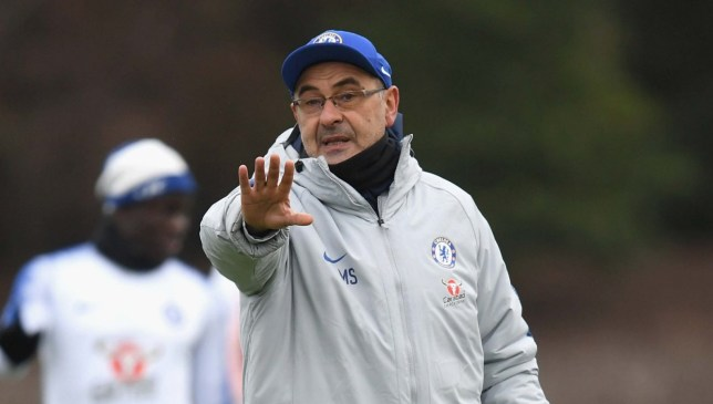 COBHAM, ENGLAND - JANUARY 22: Maurizio Sarri of Chelsea during a training session at Chelsea Training Ground on January 22, 2019 in Cobham, England. (Photo by Darren Walsh/Chelsea FC via Getty Images)