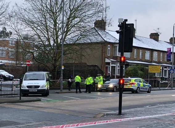 Investigators at work in Forest Road, east London, where a 21-year-old woman has died after being hit by a police car responding to a 999 call. PRESS ASSOCIATION Photo. Picture date: Wednesday January 23, 2019. The car had been responding to a call about a man threatening members of the public in Walthamstow. See PA story POLICE Woman. Photo credit should read: Carla Johnson/PA Wire