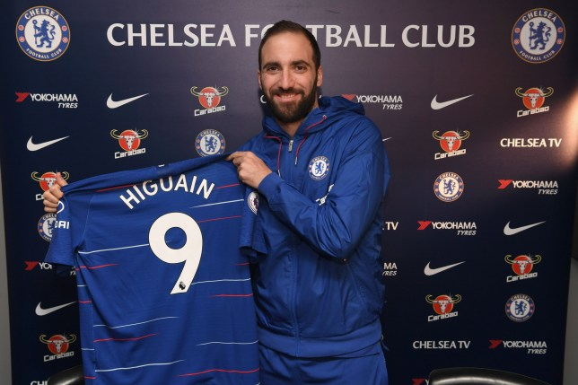 LONDON, ENGLAND - JANUARY 23: Gonzalo Higuain of Chelsea signs for Chelsea at Stamford Bridge on January 23, 2019 in London, England. (Photo by Darren Walsh/Chelsea FC via Getty Images)