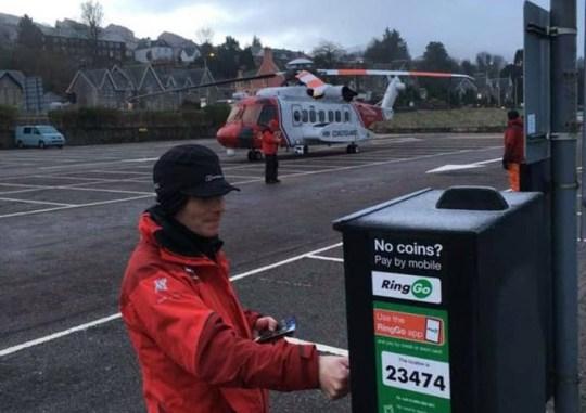 Coastguard buy parking ticket for helicopter after landing