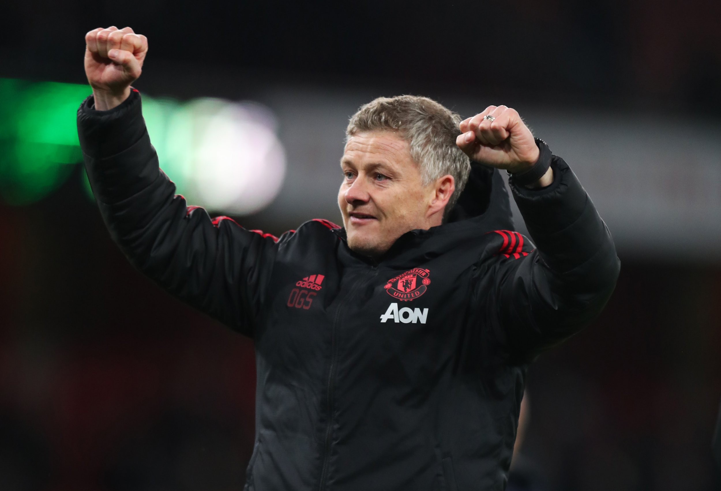 LONDON, ENGLAND - JANUARY 25: Ole Gunnar Solskjaer, Interim Manager of Manchester United celebrates victory after the FA Cup Fourth Round match between Arsenal and Manchester United at Emirates Stadium on January 25, 2019 in London, United Kingdom. (Photo by Catherine Ivill/Getty Images)
